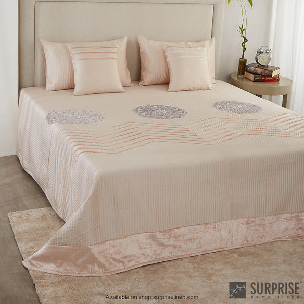 Surprise Home - Silk Mandala 5 Pcs Bed Cover Set (Salmon Pink)