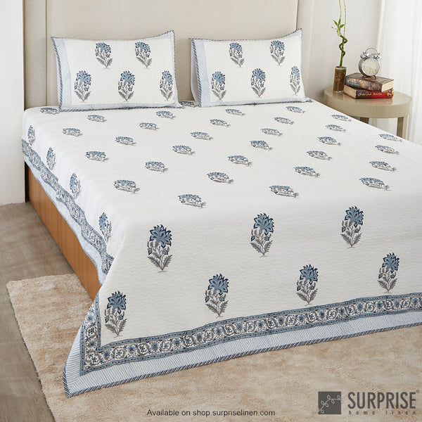 Surprise Home - Hand Block Print Bed Cover Set (Blue)