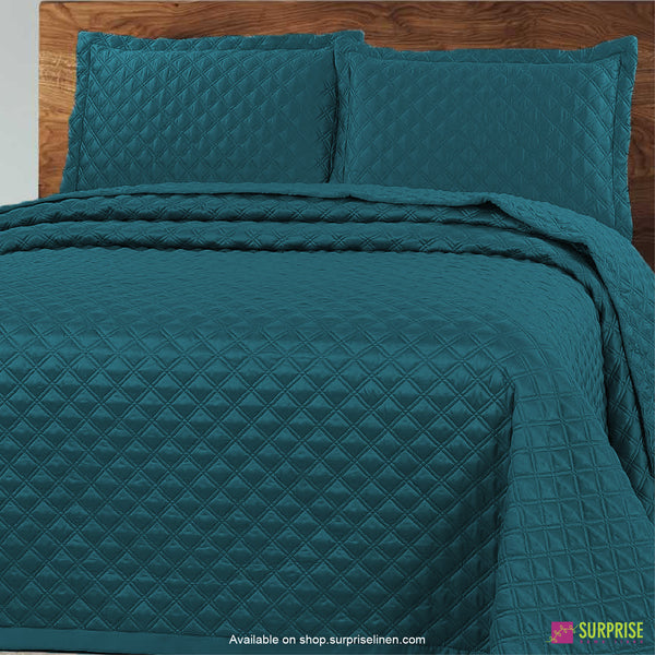 Surprise Home - Luxe 3 Pcs Quilted Bed Cover Set (Pine Green)