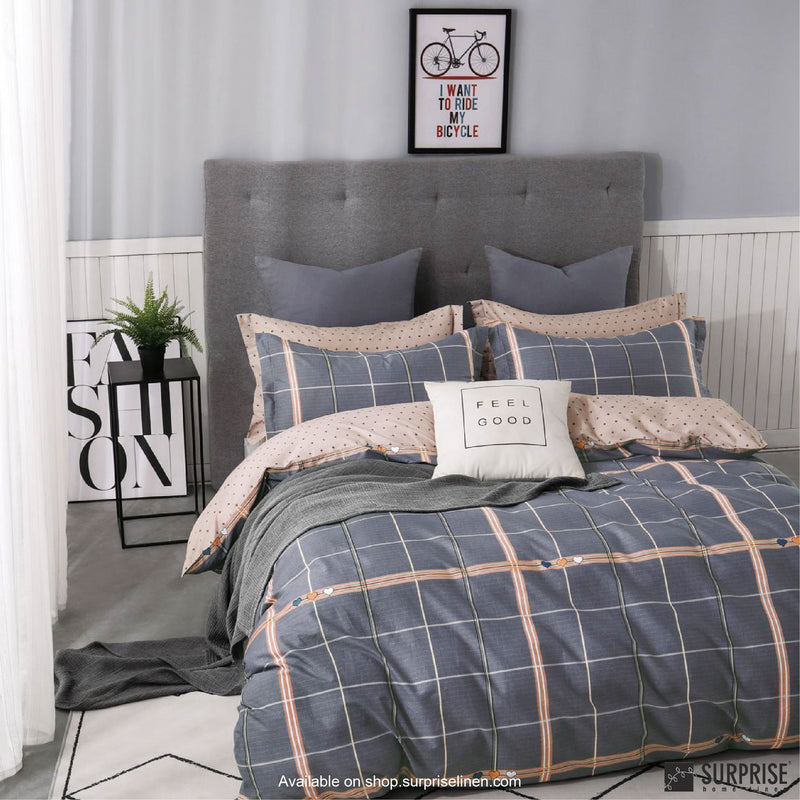 Essentials by Surprise Home - Geometric (Checkered Blue & Pink) Bed Sheet Set