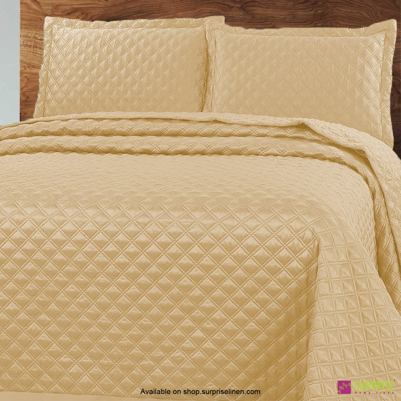 Surprise Home - Luxe 3 Pcs Quilted Bed Cover Set (Soft Yellow)