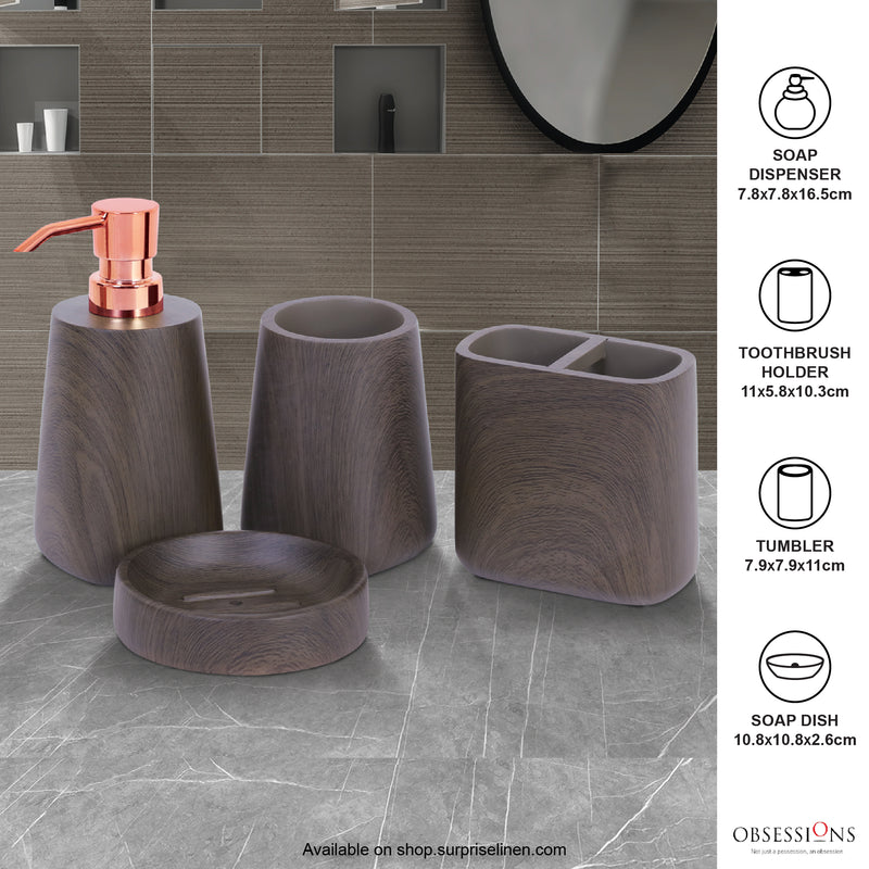 Obsessions - Spaze 4 Pcs Bath Set (Dark Brown)