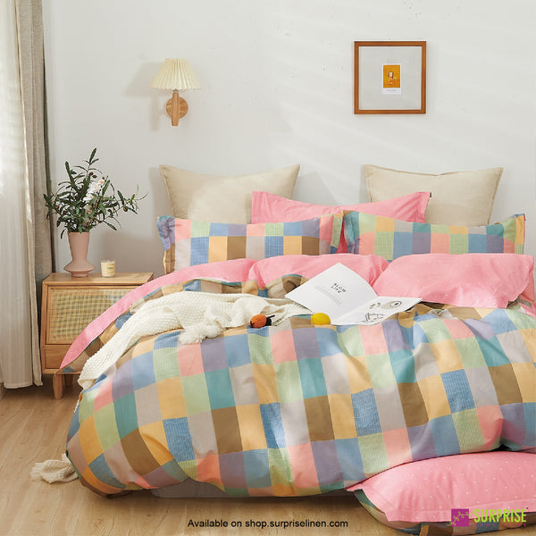 Luxury Essentials by Surprise Home - Criss Cross Collection Bedsheet Set (Pastel Blocks)