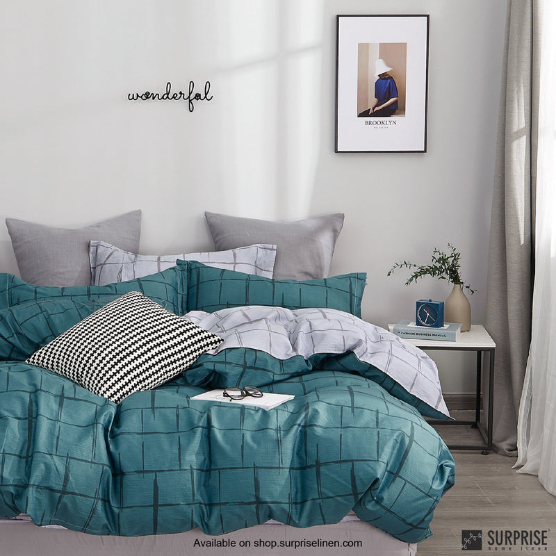Essentials by Surprise Home - Criss Cross (Teal Blue) Bed Sheet Set