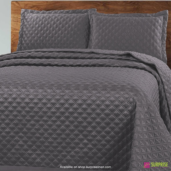 Surprise Home - Luxe 3 Pcs Quilted Bed Cover Set (Dark Grey)