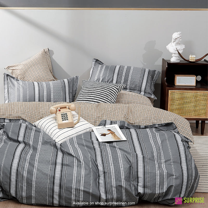 Luxury Essentials by Surprise Home - Monze Collection Bedsheet Set (Striped Grey)