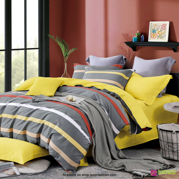 Luxury Essentials by Surprise Home - Monze Collection Bedsheet Set (Charcoal Pop Stripes)