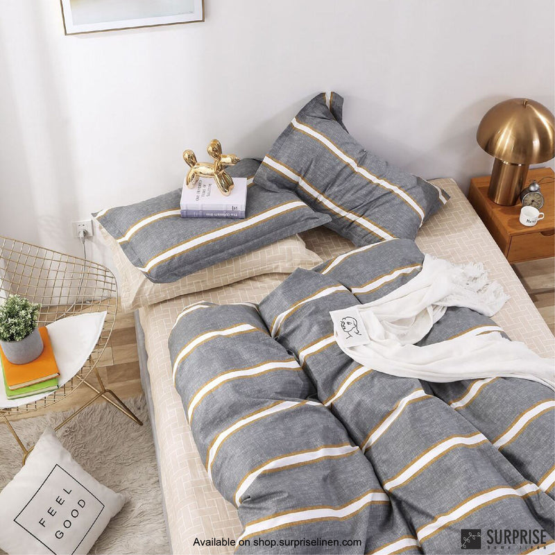 Essentials by Surprise Home - Monze (Striped Grey) Bed Sheet Set