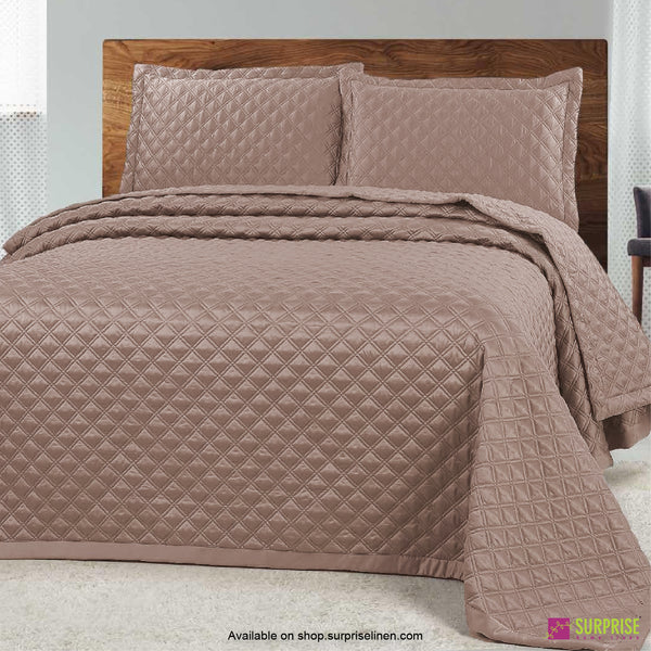 Surprise Home - Luxe 3 Pcs Quilted Bed Cover Set (Light Brown)