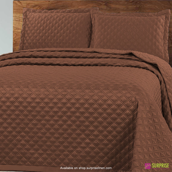 Surprise Home - Luxe 3 Pcs Quilted Bed Cover Set (Brown)