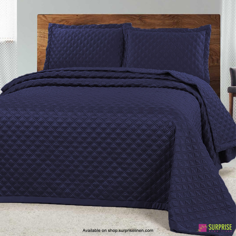 Surprise Home - Luxe 3 Pcs Quilted Bed Cover Set (Navy Blue)
