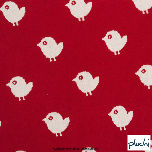 Pluchi - Birdies Cotton Knitted AC Baby Blanket (Red)