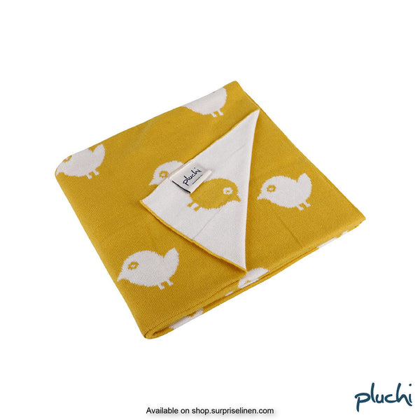 Pluchi - Birdies Cotton Knitted AC Baby Blanket (Yellow)