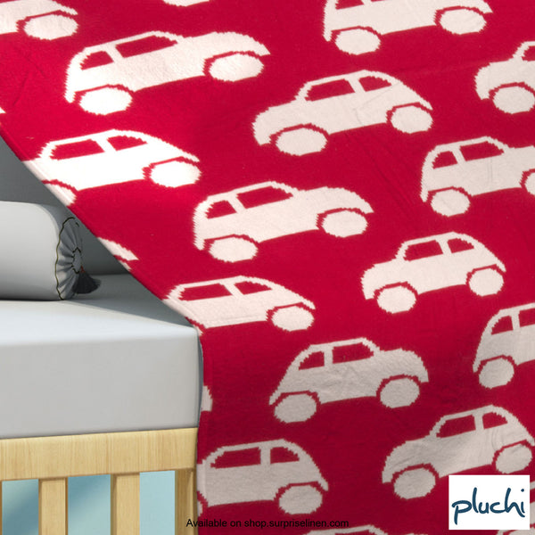 Pluchi - Cool Cars Cotton Knitted AC Baby Blanket (Natural red)