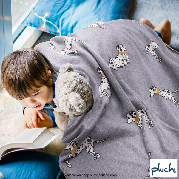 Pluchi - Derek Cotton Knitted Kids AC Blanket (Smokey Grey)