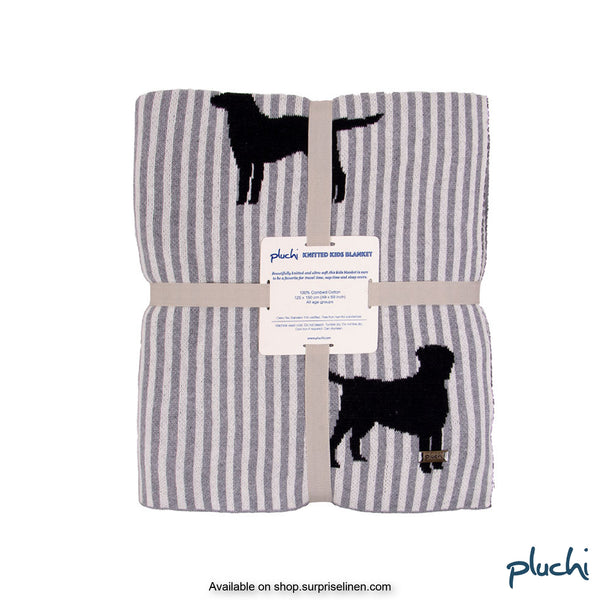 Pluchi - Dog Stripe Cotton Knitted Kids AC Blanket (Dappled Grey)