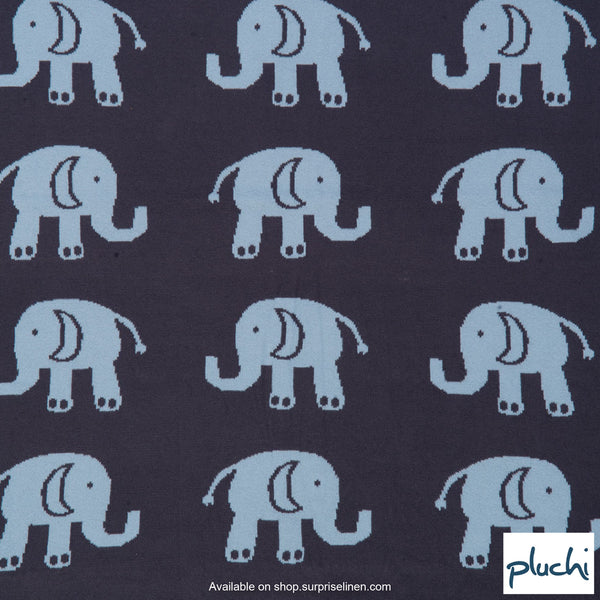 Pluchi - Indian Elephants Cotton Knitted Kids AC Blanket (Grey & Sea Blue)