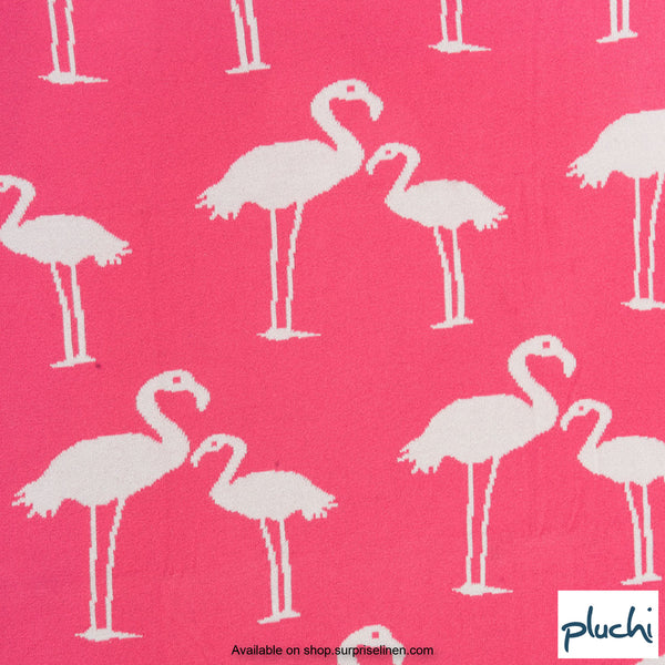 Pluchi - Flamingo Cotton Knitted AC Baby Blanket (Neon Pink)