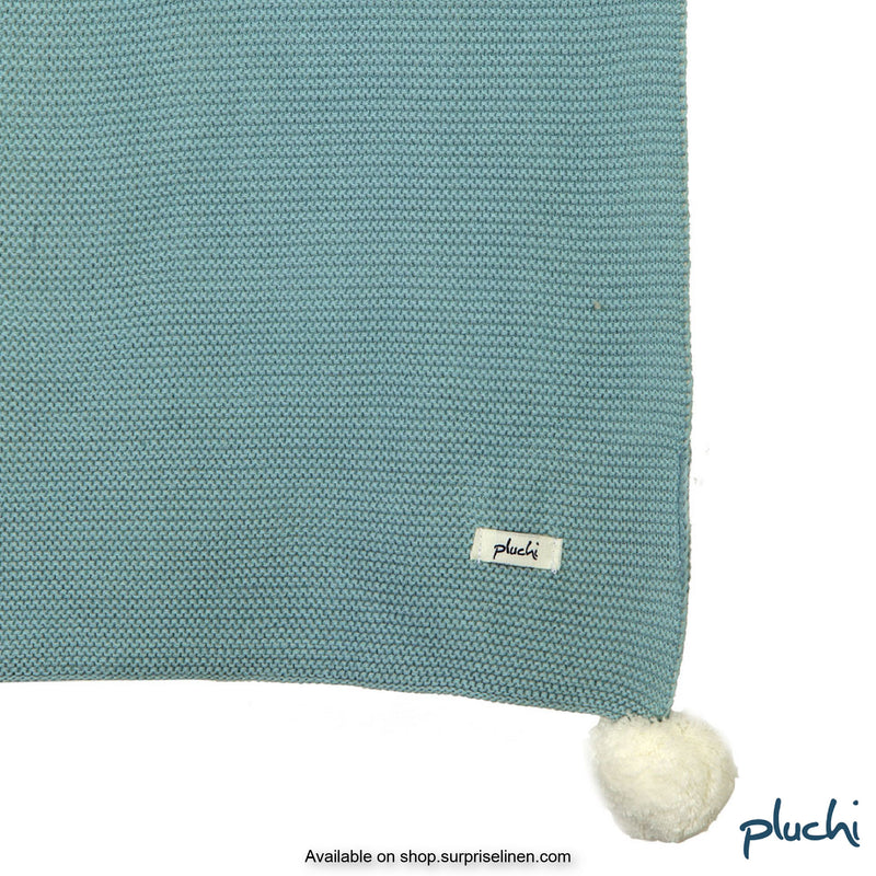 Pluchi - Bunny Cotton Knitted AC Baby Blanket (Blue)