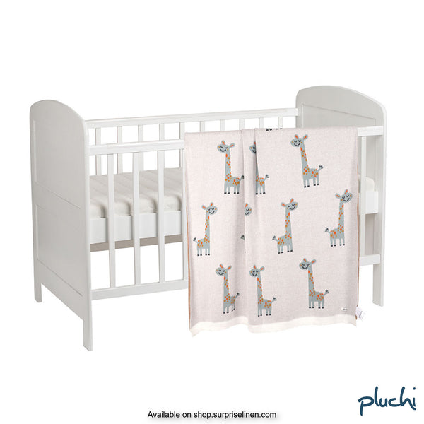 Pluchi - Charming Giraffes Cotton Knitted AC Baby Blanket (Ivory)