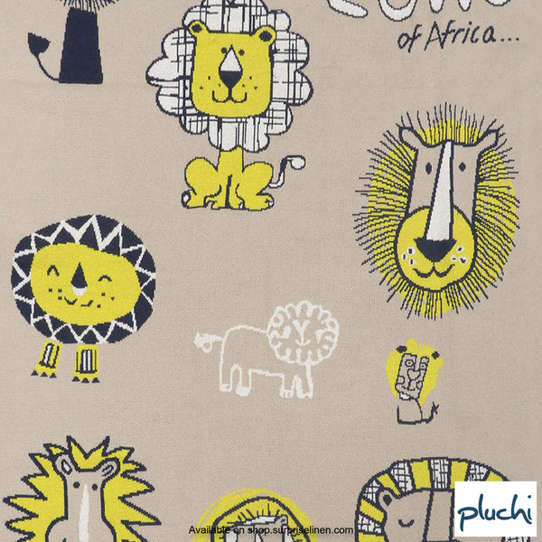 Pluchi - Lions of Africa Cotton Knitted AC Baby Blanket (Beige)
