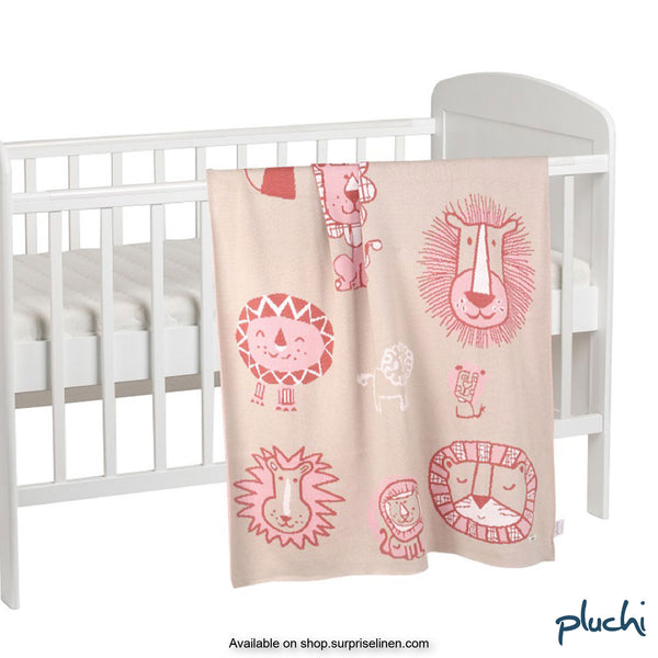 Pluchi - Lions of Africa Cotton Knitted AC Baby Blanket (Pale Whisper)