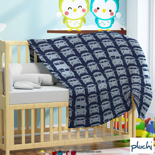 Pluchi - Rush Hour Cotton Knitted AC Baby Blanket (Estate Blue)