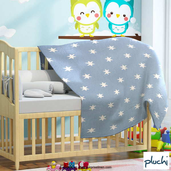 Pluchi - Little Star Cotton Knitted AC Baby Blanket (Baby Blue)