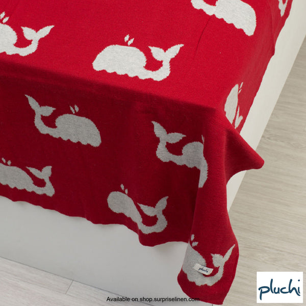 Pluchi - Baby Whale Cotton Knitted AC Baby Blanket (Melange Red)
