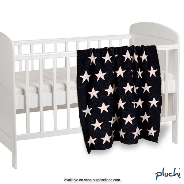 Pluchi - In The Night Cotton Knitted AC Baby Blanket (Dark Navy)