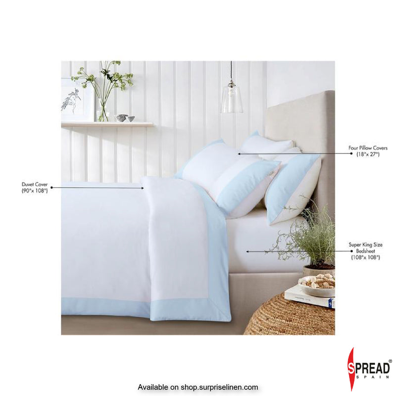 Spread Home - Botanic Cotton 550 Thread Count Lakeside Quilt Cover (Sky Blue)