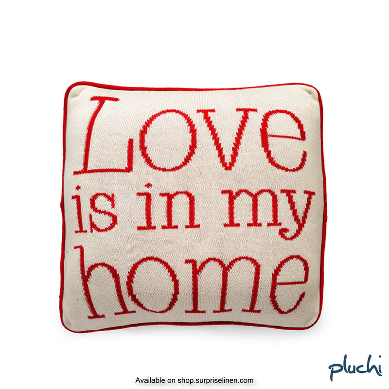 Pluchi - Love is in my Home Cotton Knitted Cushion Cover (Red / Cream)