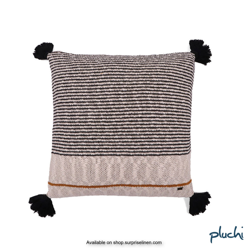 Pluchi - Claudia Cotton Knitted Cushion Cover (Black / Natural)