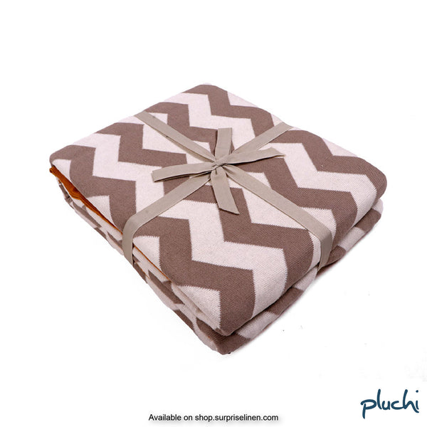 Pluchi - Chevron Cotton Knitted AC Blanket (Natural stone)
