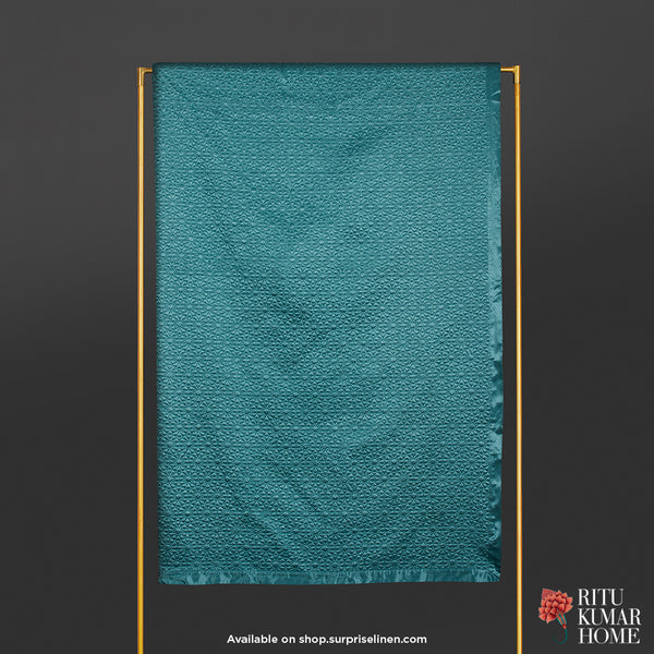 Ritu Kumar Home - Jal Mahal King Bed Coverlet (Teal)