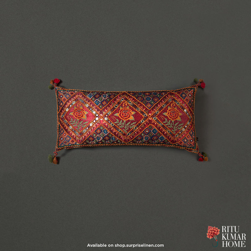 Ritu Kumar Home - Kutch Print Rectangle Cushion With Filler (Red)