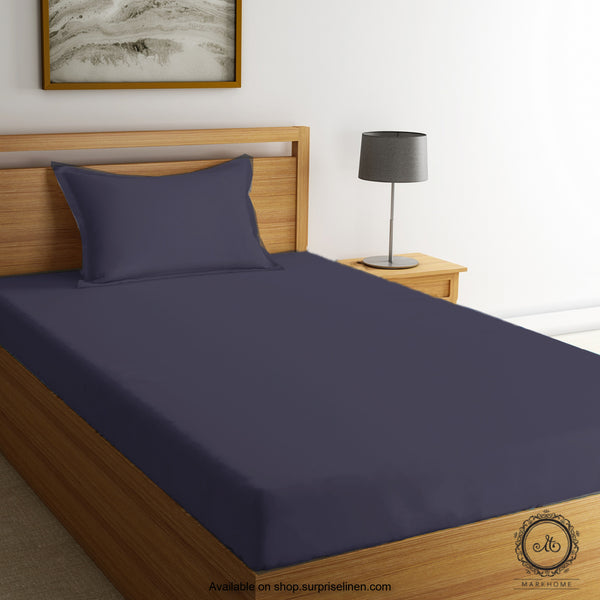 Mark Home - 100% Organic Cotton Percale 200 TC Single Bedsheet Set (Blue)