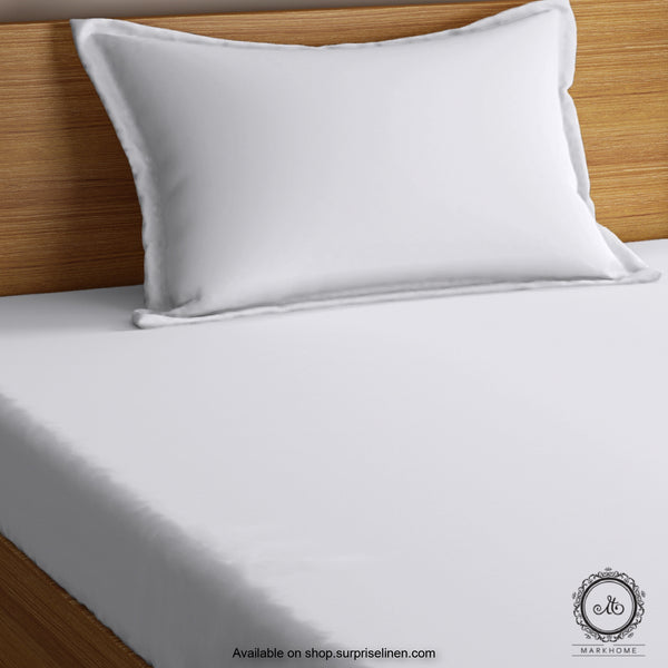 Mark Home- 100% Organic Cotton Percale 200 TC Single Bedsheet Set (White)