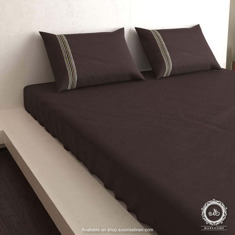 Mark Home - 100% Organic Cotton Satin Fabric 400 TC Excell King Size Bedsheet Set (Brown)