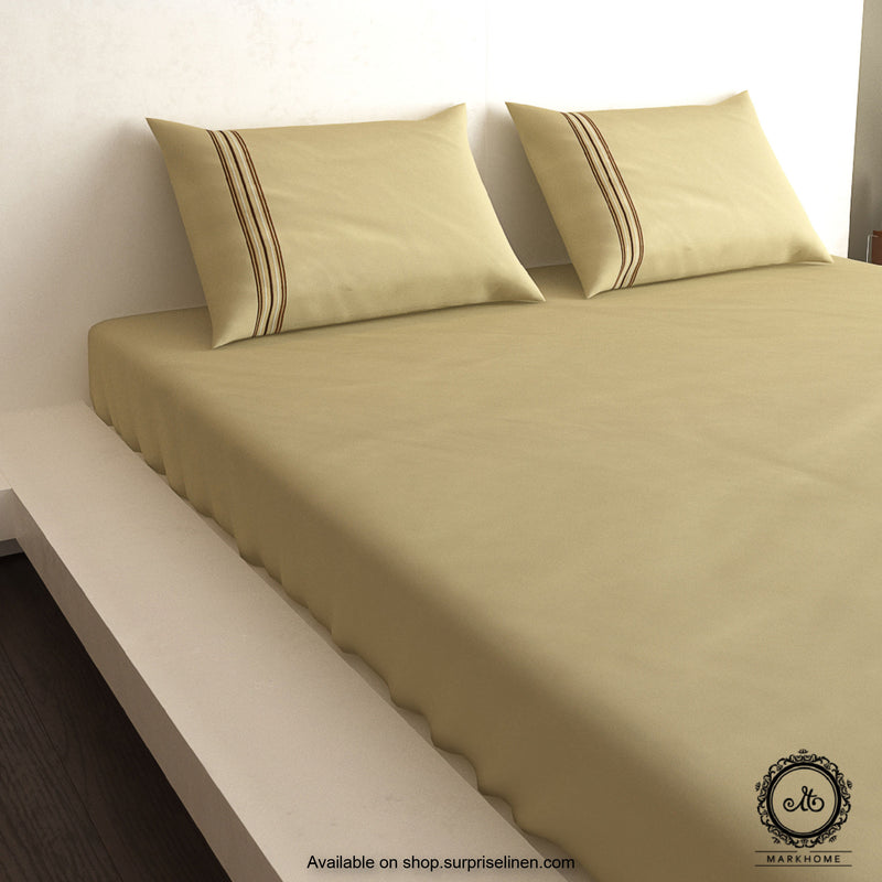 Mark Home- 100% Organic Cotton Satin Fabric 400 TC Excell King Size Bedsheet Set (Khaki)