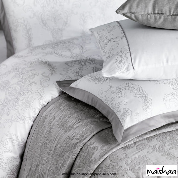 Maishaa - Metallica Collection Felicita Bed Sheet Set (White & Silver)