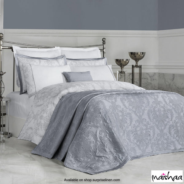 Maishaa - Metallica Collection Felicita Bed Sheet Set (White & Grey)