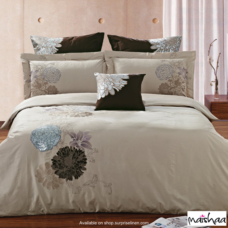 Maishaa - Thread Art Collection Bed Sheet Set (Floral Beige)