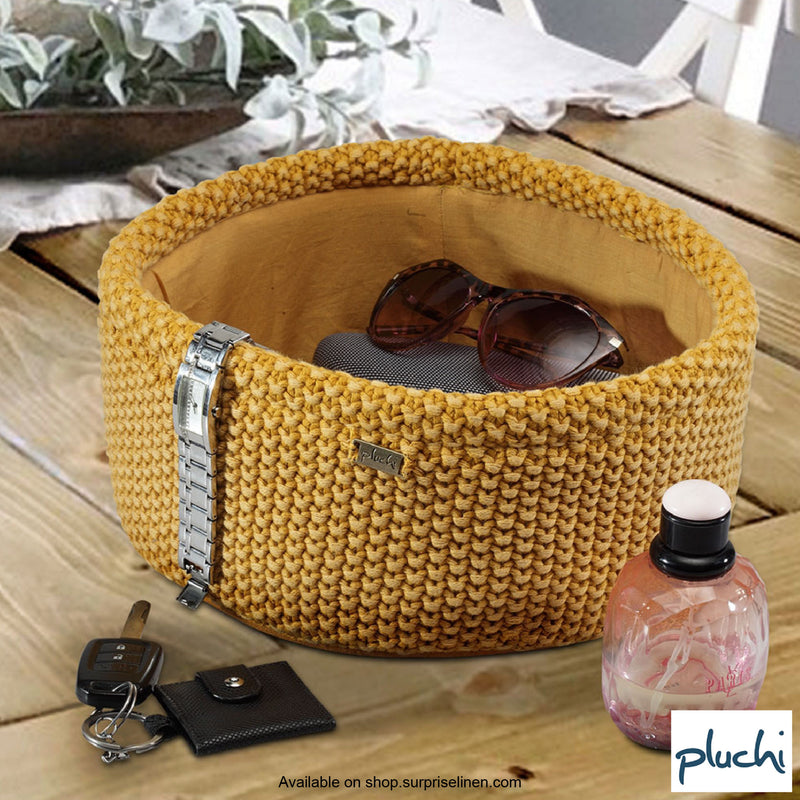 Pluchi - Eleanor Cotton Knitted Home Baskets (Honey Gold With Stone Wash)