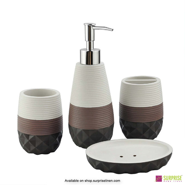 Surprise Home - Recto Series 4 Pcs Bath Set (Cream & Brown)