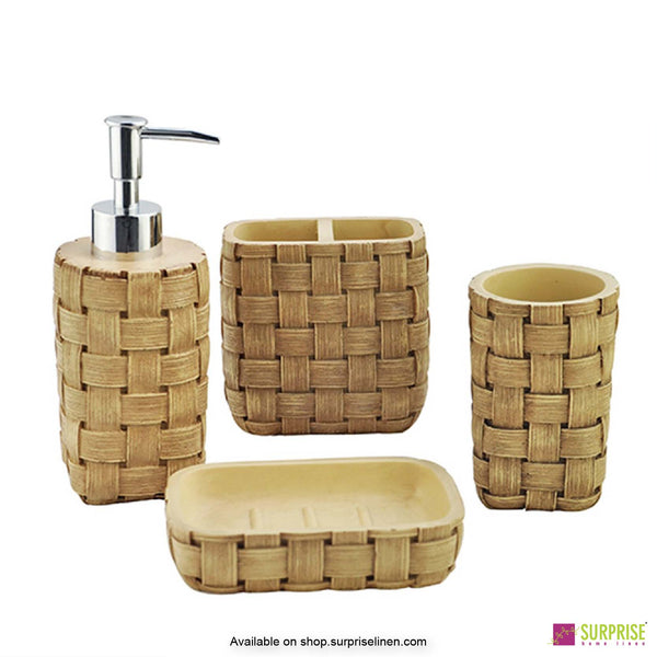 Surprise Home - Recto Series 4 Pcs Bath Set (Woven Brown)