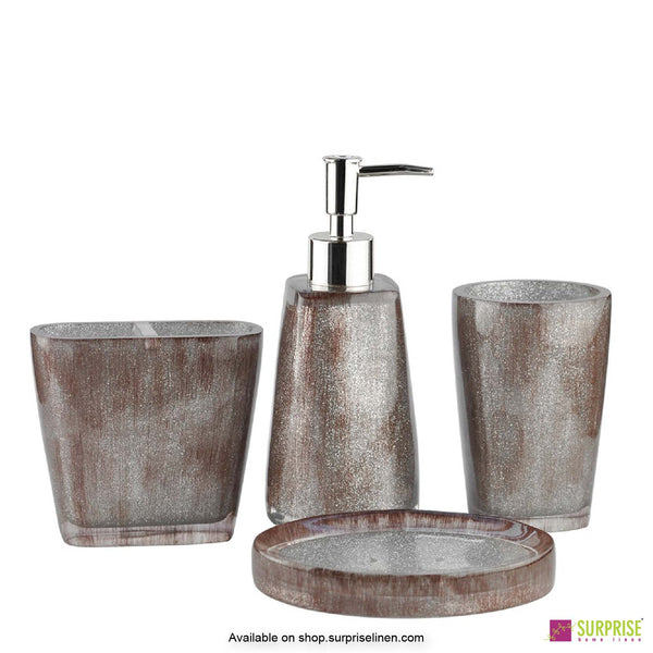 Surprise Home - Primo Series 4 Pcs Bath Set (Glossy Brown)