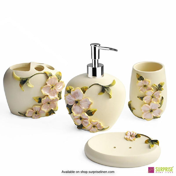 Surprise Home - Flora Series 4 Pcs Bath Set (Bunchberry Cream)