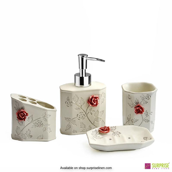 Surprise Home - Flora Series 4 Pcs Bath Set (Rose Red)
