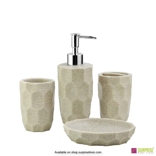 Surprise Home - Cube Series 4 Pcs Bath Set (Hexagon Ivory)